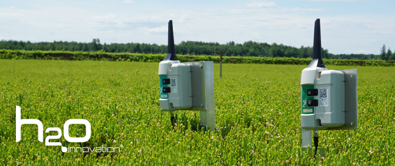 Two H<sub>2</sub>O irrigation monitor planted in a field